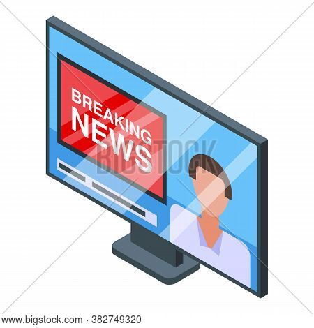 Nursing Home Tv Breaking News Icon. Isometric Of Nursing Home Tv Breaking News Vector Icon For Web D
