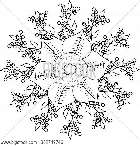 Coloring Book Antistress Mandala Wreath Of Leaves, Flowers, Twigs And Berries