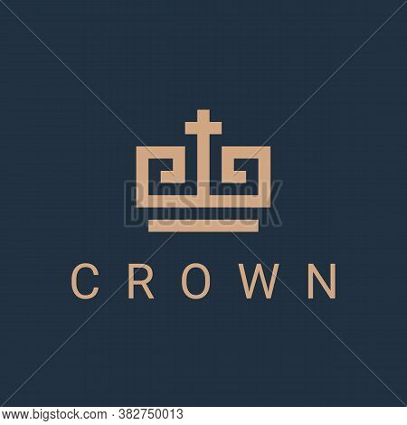 Crown Logo Icon Design Template. Royal Linear Business Symbol Or Sign. King Or Queen Line Luxury Log