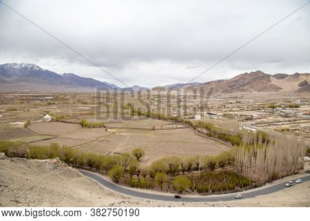 City View Of Leh Ladakh From Thiksey Monastery, Thiksey Gompa In Leh Ladakh, India