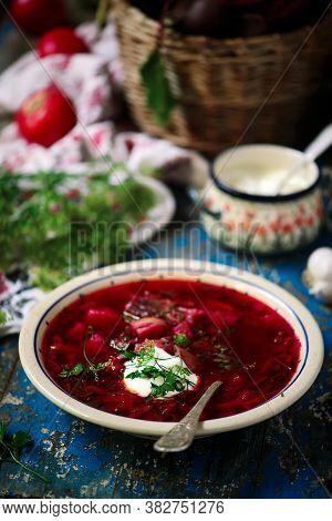 Ukrainian Borsch,traditional Soup .style Rustic. Selective Focus