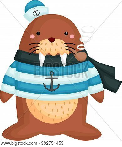 A Cute Walrus Wearing A Sailor Costume