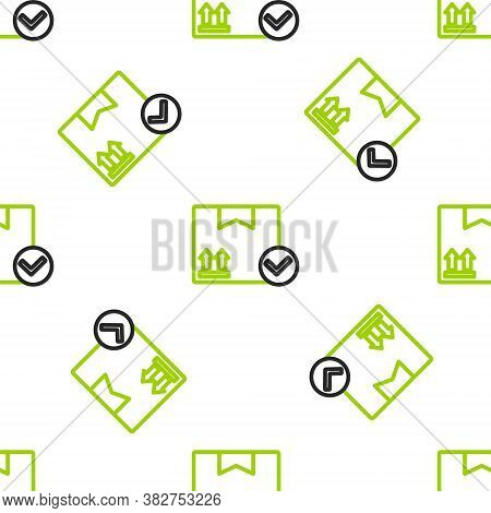 Line Package Box With Check Mark Icon Isolated Seamless Pattern On White Background. Parcel Box. App