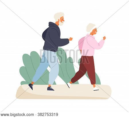 Happy Elderly Couple Running At Summer Park Vector Flat Illustration. Mature Man And Woman In Sports