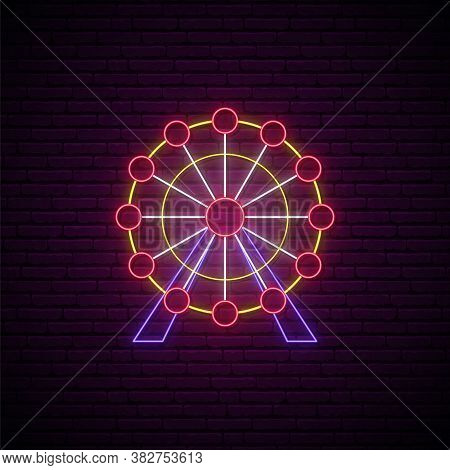 Neon Ferris Wheel Sign. Entertainment Industry Emblem In Neon Style. Glowing Ferris Wheel Icon On Br