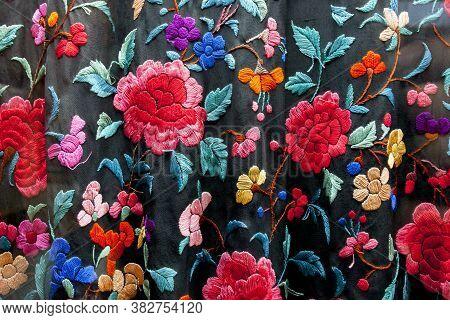 Manila Shawl, Embroidered Silk Shawl Originating From China. Also Known In Spain As Manton De Manila