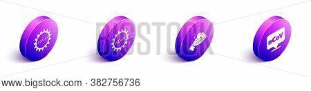 Set Isometric Corona Virus Covid-19, Corona Virus 2019-ncov, Washing Hands With Soap And Corona Viru