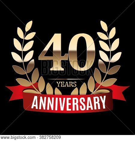 40 Years Anniversary Golden Template With Red Ribbon And Laurel Wreath Vector Illustration
