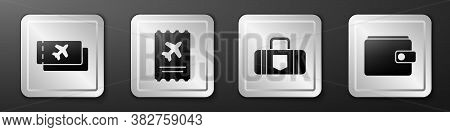 Set Airline Ticket, Airline Ticket, Suitcase And Wallet Icon. Silver Square Button. Vector
