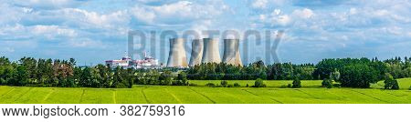 Nuclear Power Plant On The Background Of Beautiful Green Summer Meadow. Temelin, Czech Republic.