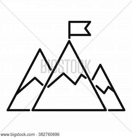 Mountain Flag Mission Icon. Outline Mountain Flag Mission Vector Icon For Web Design Isolated On Whi