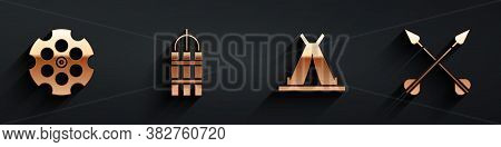 Set Revolver Cylinder, Detonate Dynamite Bomb Stick, Indian Teepee Or Wigwam And Crossed Arrows Icon