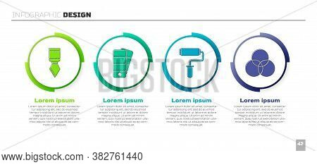 Set Palette Knife, Palette, Paint Roller Brush And Rgb And Cmyk Color Mixing. Business Infographic T