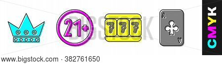 Set King Playing Card, 21 Plus, Slot Machine With Lucky Sevens And Playing Card With Clubs Icon. Vec