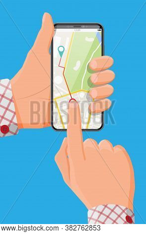 Modern Smartphone With Map And Marker In Hand. Gps Navigation In Phone With Green And Blue Pointers.