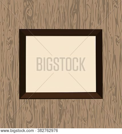 Vector Illustration Abstract Wood Wall And Empty Frame
