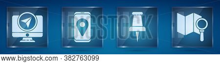 Set Monitor With Location Marker, City Map Navigation, Push Pin And Search Location. Square Glass Pa