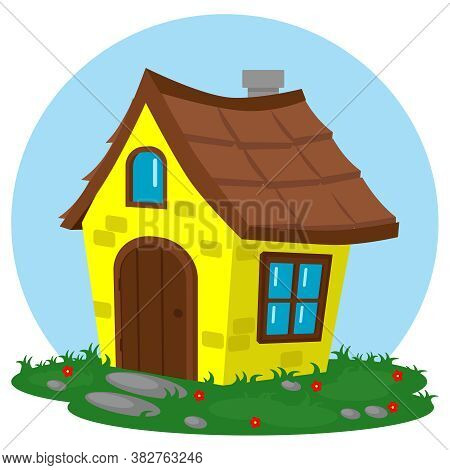 A Fabulous Vector House In Cartoon Style. Vector Illustration On The Theme Of Construction And Archi