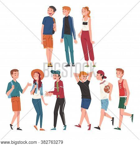 Happy Teenage Boys And Girls Set, Cheerful Students, Classmates Or Friends Characters Cartoon Style