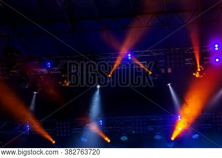 Stage Lights. Background In Show. Light Spotlight In The Dark. The Interior Of The Theater Scene Is