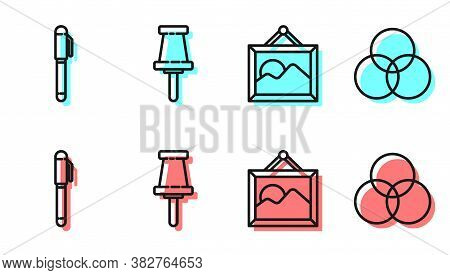 Set Line Picture Landscape, Pen, Push Pin And Rgb And Cmyk Color Mixing Icon. Vector