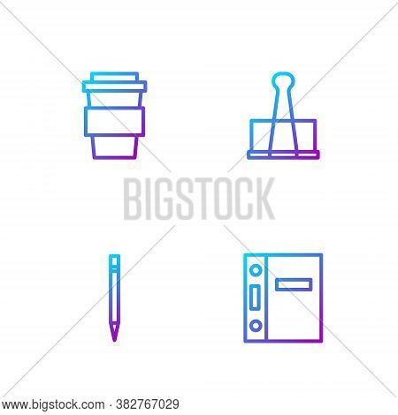 Set Line Office Folders, Pencil With Eraser, Coffee Cup To Go And Binder Clip. Gradient Color Icons.