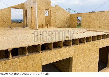 Construction Of New And Modern Modular House. Walls Made From Composite Wooden Sip Panels With Styro