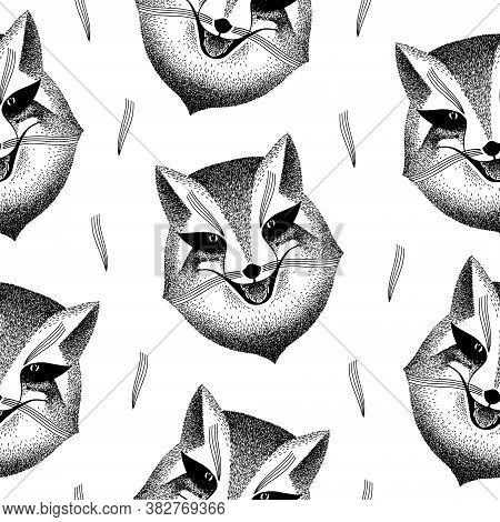 Seamless Pattern With Fox Face. Sly Fox Smiles. Handmade Illustration. Liar, Dodger, Mischievous, Ho