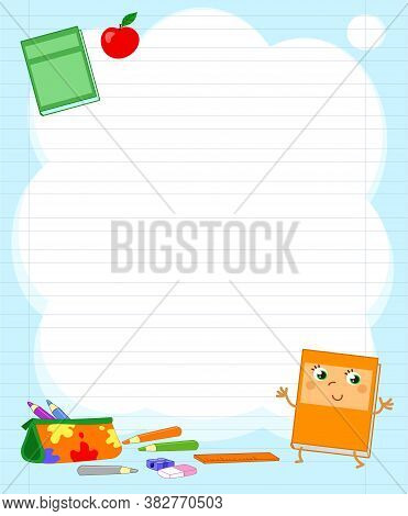 Light Blue Letter Background With Primary School Objects Vector Illustration
