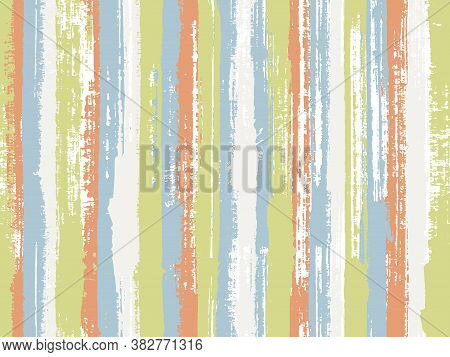 Watercolor Strips Seamless Vector Background. Striped Tablecloth Textile Print. Colorful Wrapping Pa