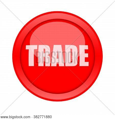 Trade Red Glossy Button Isolated On White Background