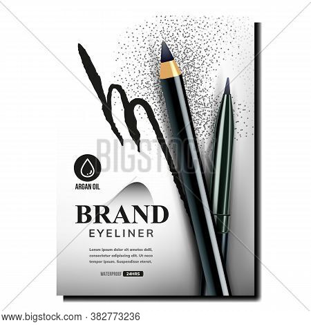 Eyeliner Pencils Creative Promo Banner Vector. Black Eye Linear Advertise And Blank Pencils On Adver