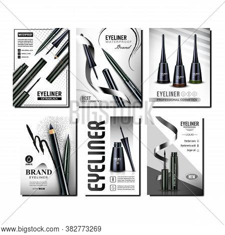 Eyeliner Cosmetics Promotional Posters Set Vector. Eyeliner Blank Bottles, Pencils And Ink Linear On