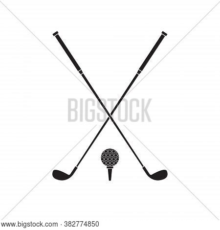 Vector Flat Black Golf Ball And Crossed Stick Isolated On White Background