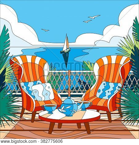 Cartoon Coloring Composition With Two Two Armchairs On Balcony Overlooking The Sea Or Ocean Vector I