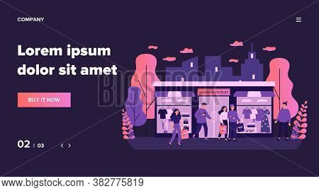 Consumers Shopping In Apparel Boutique Flat Vector Illustration. Happy People Walking On City Street