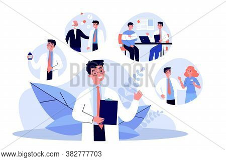 Young Doctor And His Work Routine In Hospital. Pill, Patient, Nurse Flat Vector Illustration. Occupa
