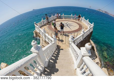 Benidorm, Spain - August 13, 2020: View From The Balcony Of The Mediterranean-balco Del Mediterrani,