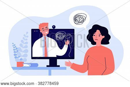 Sad Woman Counseling With Psychologist Online Isolated Flat Vector Illustration. Cartoon Psychiatris