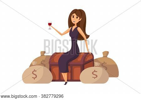 Money, Success, Profit, Wealth, Business Concept. Young Happy Smiling Rich Businesswoman In Dress Ma