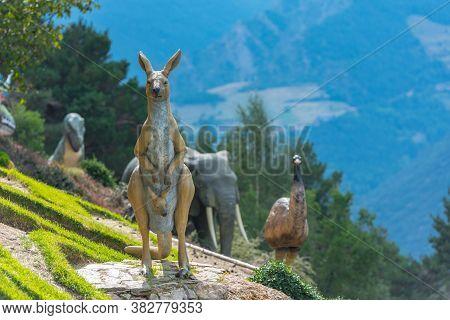 Juberri Sant Julia De Loria, Andorra: August 27 2020: Sculptures In Jardins De Juberri In Summer 202