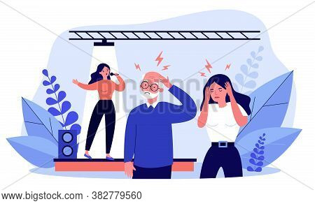 People Listening Bad Singer And Having Headache. Stage, Song, Noise Flat Vector Illustration. Perfor