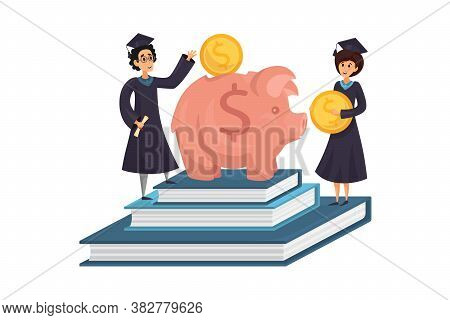 Capital, Money, Education, Loan Concept. Man And Woman Students Cartoon Characters Earning Saving Ca
