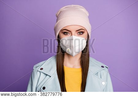 Close-up Portrait Of Her She Nice Attractive Pretty Lady Teen Girl Wearing N95 Safety Respirator Mas