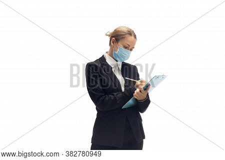 Working In Face Mask. Young Woman, Accountant, Finance Analyst Or Booker In Office Suit Isolated On