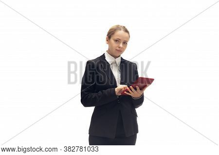 Working With Calculator. Young Woman, Accountant, Finance Analyst Or Booker In Office Suit Isolated