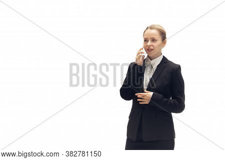 Talking Phone. Young Woman, Accountant, Finance Analyst Or Booker In Office Suit Isolated On White S