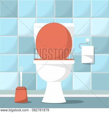Empty Vector Toilet Room. Clean Ceramic Interior. Sanitary Space, Domestic Empty Room. Toilet Paper