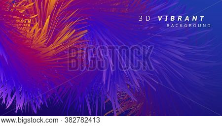 Colorful Wave 3d Liquid Shapes. Vector Music Poster. Neon Vibrant Background. Blue Creative Movement