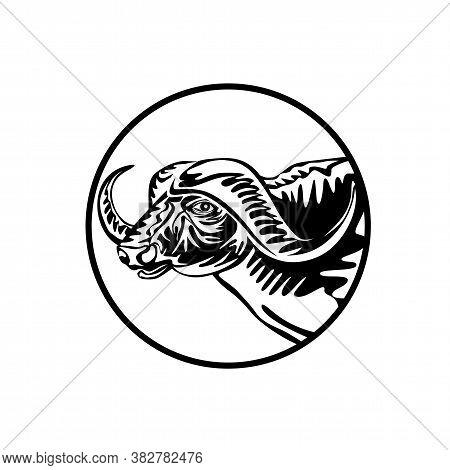 Retro Style Illustration Of An African Buffalo Or Cape Buffalo, A Large Sub-saharan African Bovine V